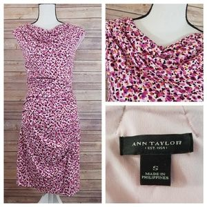 Ann Taylor S SMALL Drape Neck Sheath Dress